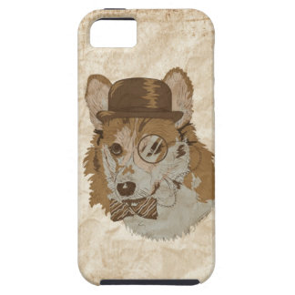 Vintage Drawing of Corgi with hat monocle and bowt iPhone 5 Case