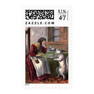 Vintage Drawing: Puss Brings a Fish Postage Stamp