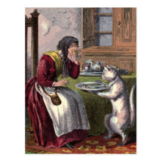 Vintage Drawing: Puss Brings a Fish Postcard