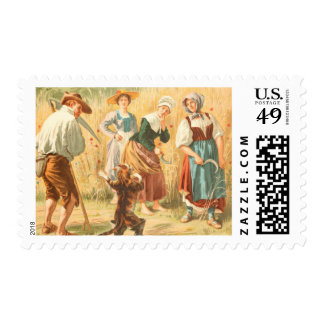 Vintage Drawing: Puss in Boots Postage Stamp