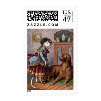 Vintage Drawing: Puss in Full Dress Postage