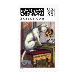 Vintage Drawing: Puss making tea Postage