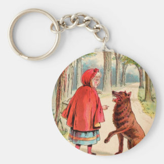 Vintage Drawing: Red Riding Hood and the Wolf Key Chains