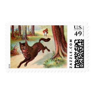 Vintage Drawing: Red Riding Hood and the Wolf Stamp