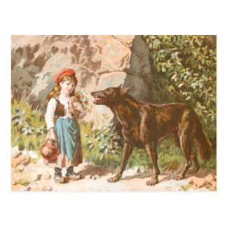 Vintage Drawing: Red Riding Hood and the Wolf Postcard