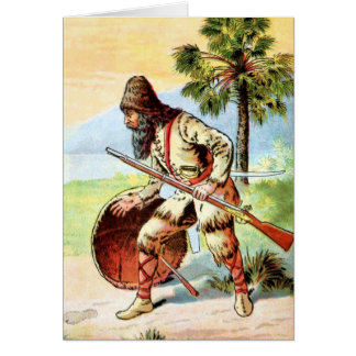 Vintage Drawing: Robinson Crusoe Hunting Card