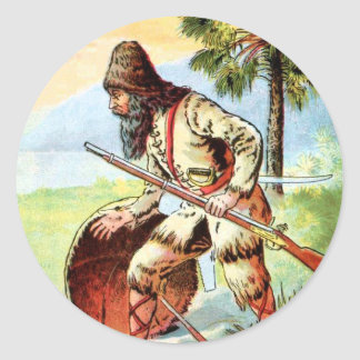 Vintage Drawing: Robinson Crusoe Hunting Classic Round Sticker