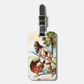 Vintage Drawing: Robinson Crusoe Hunting Luggage Tag