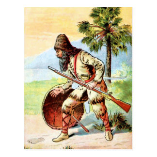 Vintage Drawing: Robinson Crusoe Hunting Postcard