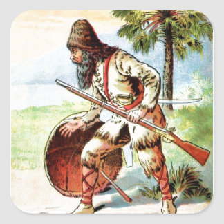 Vintage Drawing: Robinson Crusoe Hunting Square Sticker