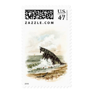 Vintage Drawing: Shipwreck on the Beach Postage