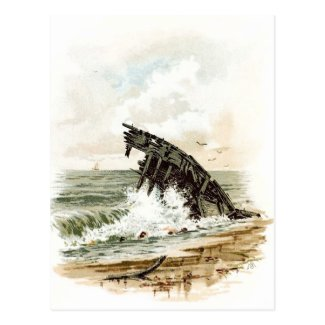 Vintage Drawing: Shipwreck on the Beach Postcard