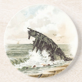Vintage Drawing: Shipwreck on the Beach Sandstone Coaster