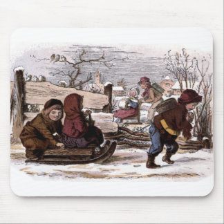 Vintage Drawing: Sled in the Snow Mouse Pad