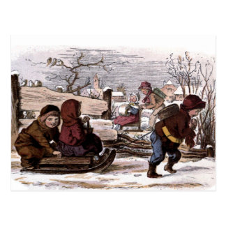 Vintage Drawing: Sled in the Snow Postcard