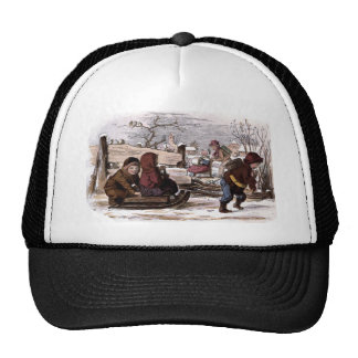 Vintage Drawing: Sled in the Snow Trucker Hat