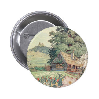 Vintage Drawing: Small Mountain Cottage in Spring Button