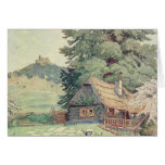 Vintage Drawing: Small Mountain Cottage in Spring Greeting Card