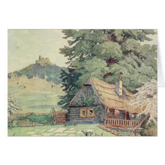 Vintage Drawing: Small Mountain Cottage in Spring Card