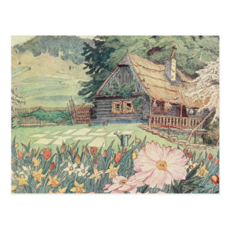 Vintage Drawing: Small Mountain Cottage in Spring Postcard