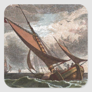 Vintage Drawing: Storm at Sea Square Sticker