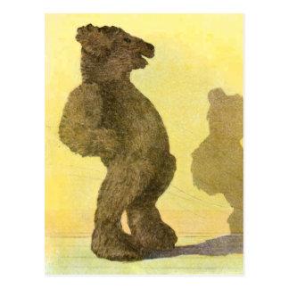 Vintage Drawing: Teddy Bear and his Shadow Postcard