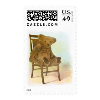 Vintage DRawing: Teddy Bear on a Chair Stamp