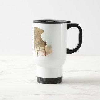 Vintage DRawing: Teddy Bear on a Chair Travel Mug
