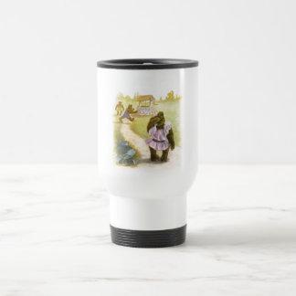 Vintage Drawing: Teddy Bears and a Well Travel Mug