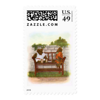 Vintage Drawing: Teddy Bears on a Bench Stamp