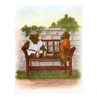 Vintage Drawing: Teddy Bears on a Bench Post Cards