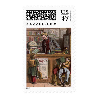 Vintage Drawing: The Antique Bookstore Postage
