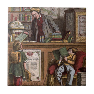 Vintage Drawing: The Antique Bookstore Small Square Tile