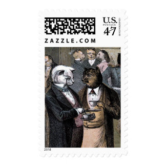 Vintage Drawing: The Cats Teaparty Postage