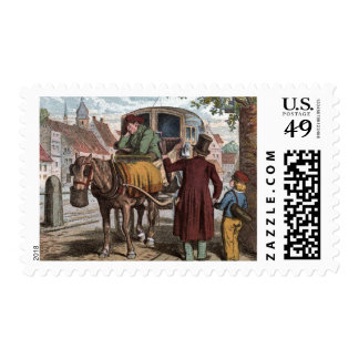 Vintage Drawing: The Old Carriage Postage