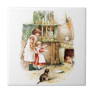 Vintage Drawing: The Rabbit Hutch Ceramic Tile