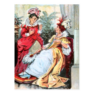 Vintage Drawing: The Sisters in Ball Gowns Postcard