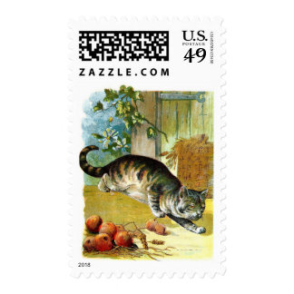 Vintage Drawing: The Sly Cat Postage Stamps