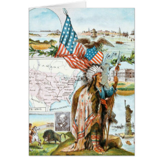 Vintage Drawing: USA Collage Card