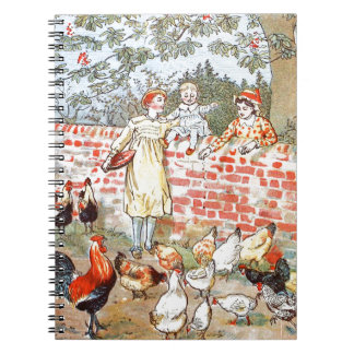 Vintage Drawing: Watching the Chickens Spiral Notebook