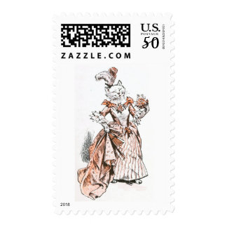 Vintage Drawing: White Cat in Antique Dress Postage