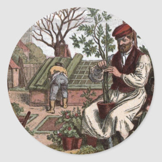 Vintage Drawing: Working in the Garden Classic Round Sticker