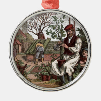 Vintage Drawing: Working in the Garden Metal Ornament