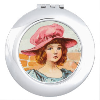 Vintage Drawing: Young Girl Portrait Compact Mirror