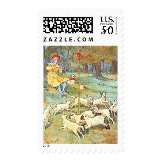 Vintage Drawing: Young Shepherd with his Lambs Postage