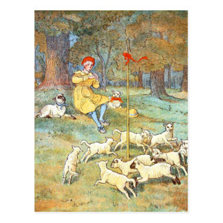 Vintage Drawing: Young Shepherd with his Lambs Postcard