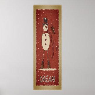 Vintage Dream Snowman Poster