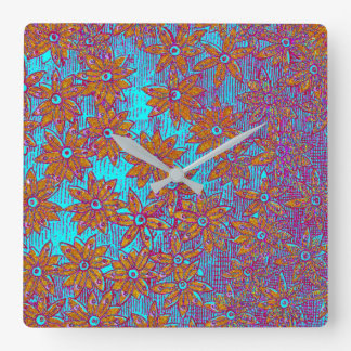 """Vintage Dreams"" - Dandelion Pop ART Style #2 Square Wall Clock"