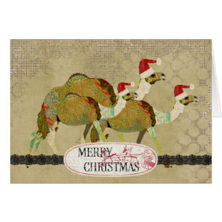 Vintage Dreamy Camels Christmas Card