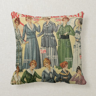 Vintage Dress Advertisement Color Throw Pillows